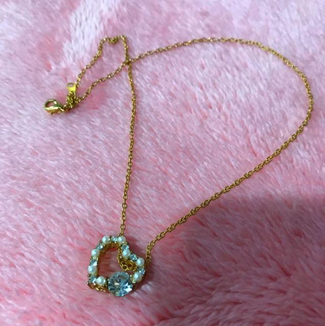 珍珠鑽愛心項鍊💗、禮物,附袋子盒子