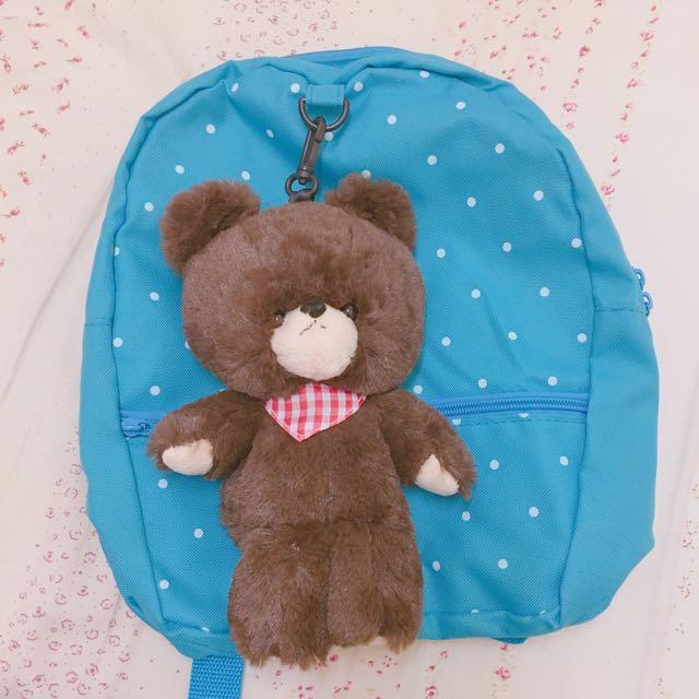 小熊學校水玉藍色後背包