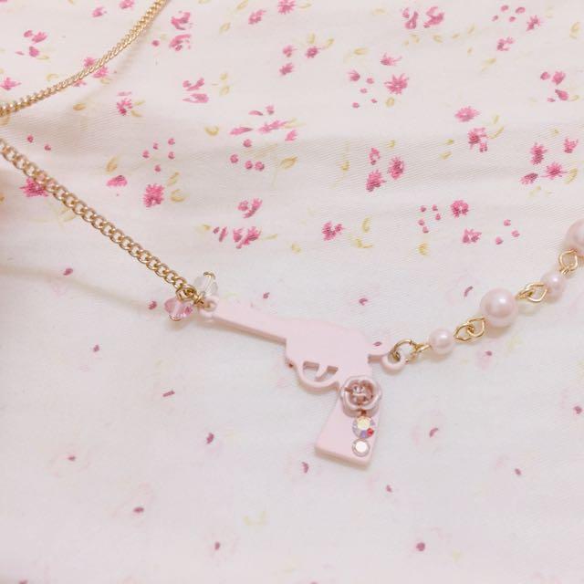 粉紅玫瑰花手槍🔫珍珠短鍊