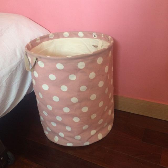 粉紅點點置物籃 洗衣籃 收納籃