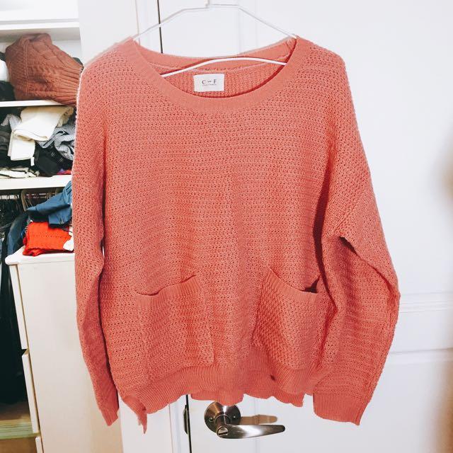 娉苦 粉色 毛衣
