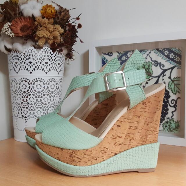 ALDO 粉綠 楔型鞋 US7