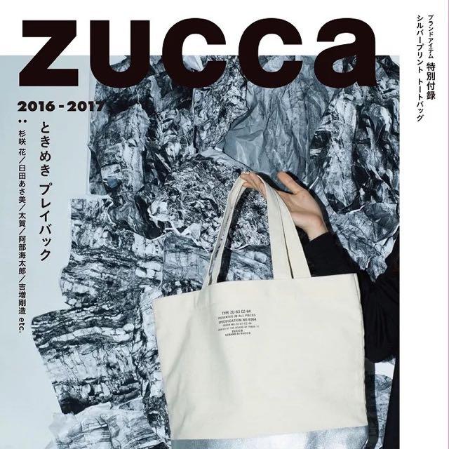 ◆Belle Shop◆日本雜誌 E Mook Zucca 米白色帆布袋 銀色 托特包