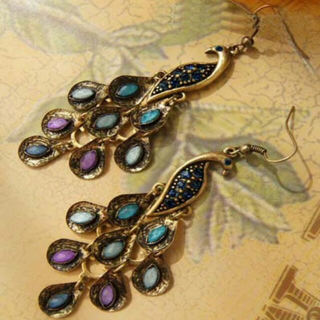 blue, purple, and gold peacock hook earrings