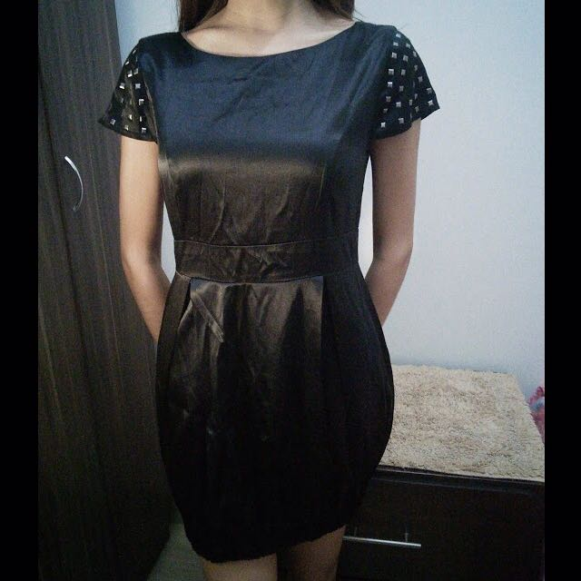 Chill Little Black Studded Silk Dress