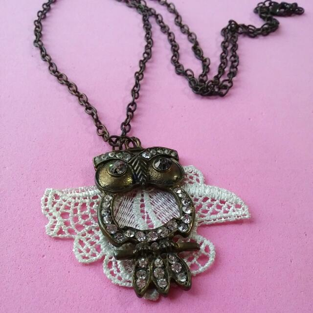 Cute Owl With Lace Wing Necklace
