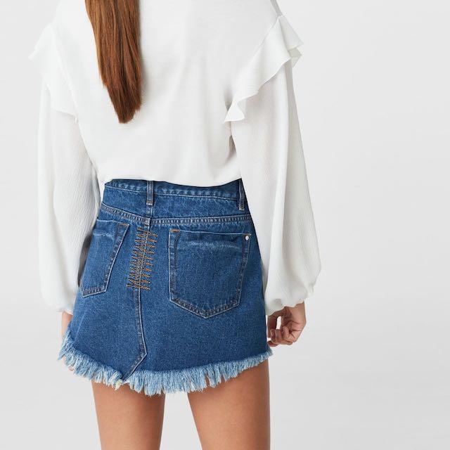 Frayed Edge Denim Skirt