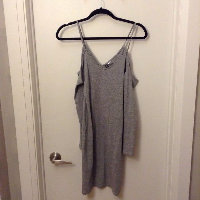 Grey Cut Out Shoulder Dress