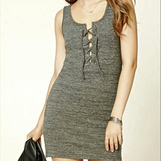 Grey F21 Lace Up Dress