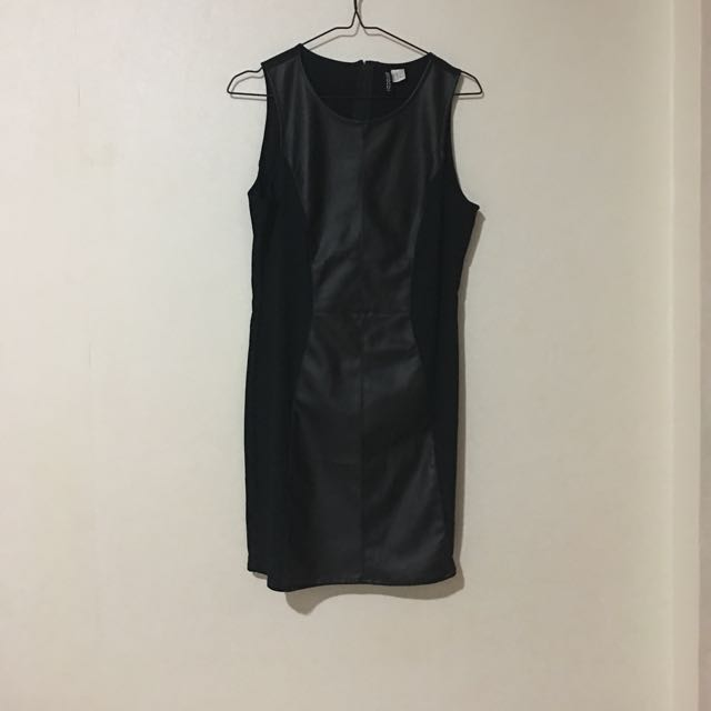 FREE ONGKIR H&M Spandex And Faux Leather Dress Size 10