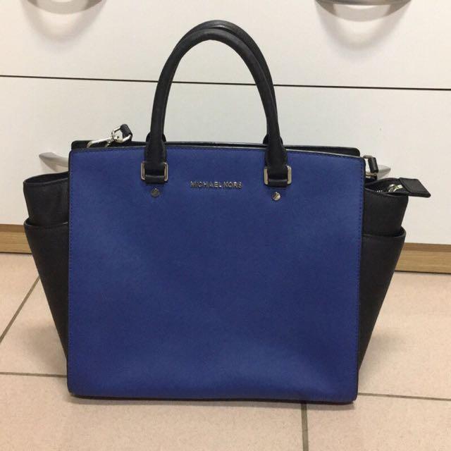 (購自美國附禮物收據/吊牌卡/防塵套)保證正品MICHAEL KORS SELMA 藍黑大手提包#運費我來出