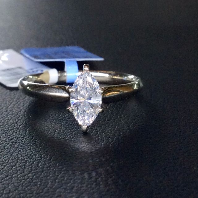 c484e95466b8e Natural 0.75 carat white Marquise diamond solitaire engagement ring