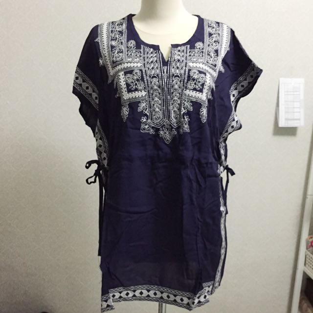 New Dark Blue And White Embroidery Top