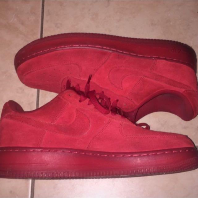 Nike AF1  Red Suede/Red Gum Soles