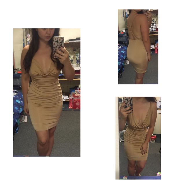 Nude Cocktail/Party Dress - Size 12 But Fits Size 10