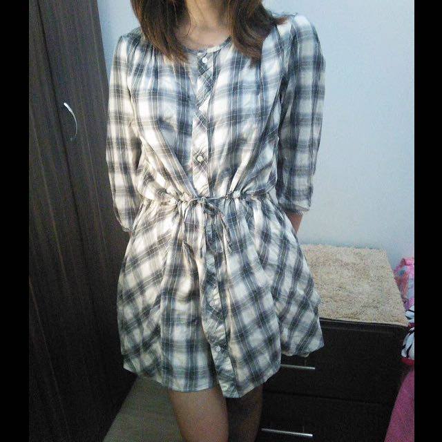 Plaid Blouse / Dress with adjustable waist ribbon