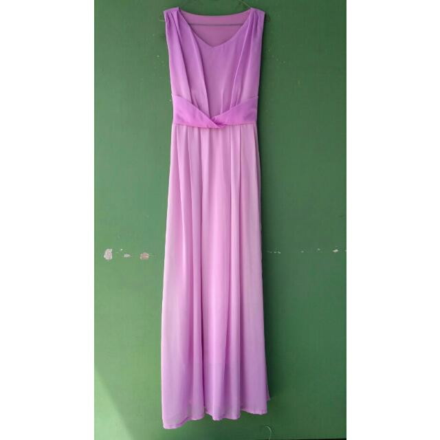 Purple Chiffon Maxi Dress