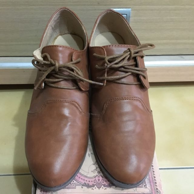 ⬇️降✨Queen Shop駝色牛津鞋40號