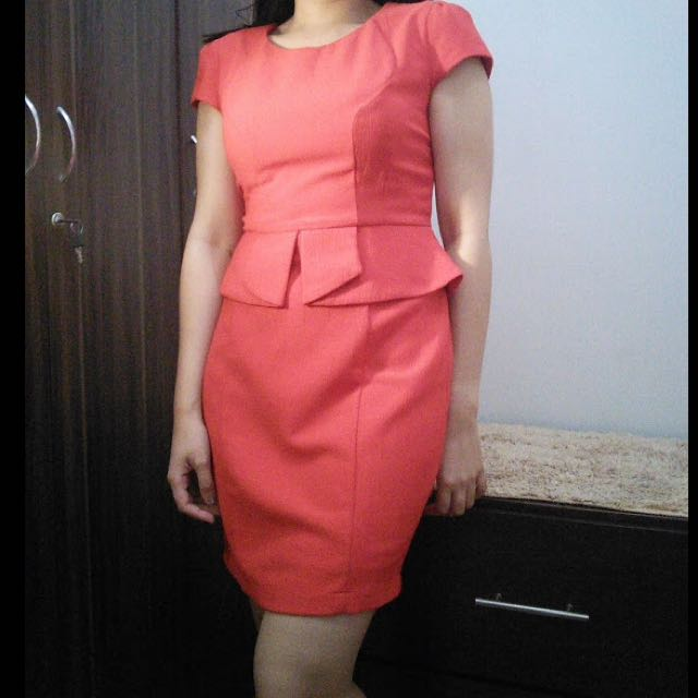 Red Orange Peplum Dress (Medium)