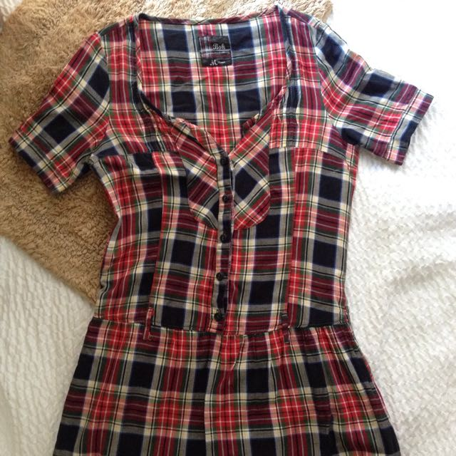 Red Plaid Blouse/ Mini Dress
