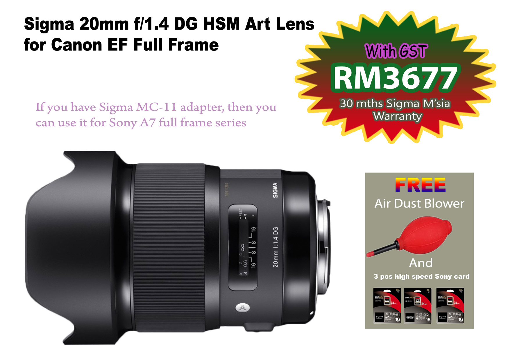 Sigma 20mm f/1.4 DG HSM Art Lens for Canon EF ( Add MC-11 for Sony E ...