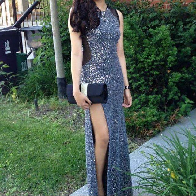 Silver Prom Dress Size xs-s