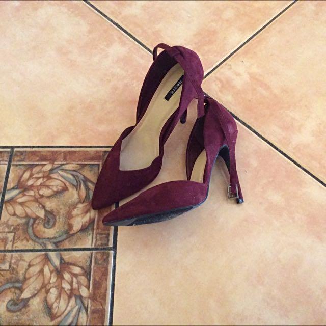 Suede wine heels