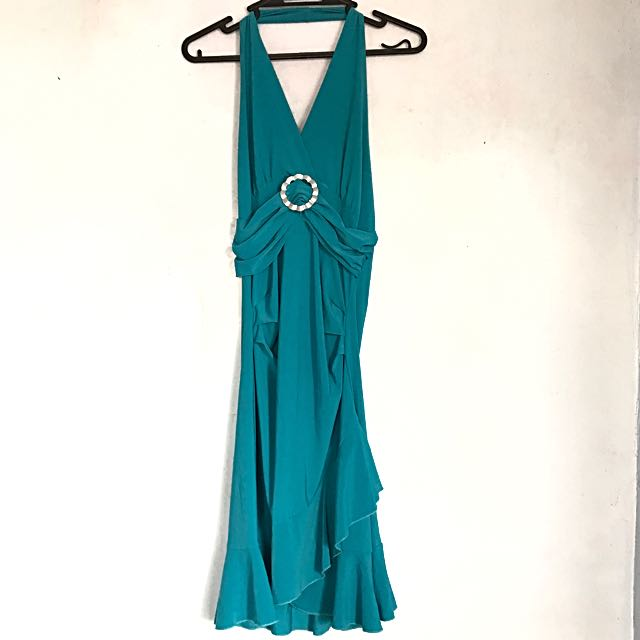 Teal Halter Dress