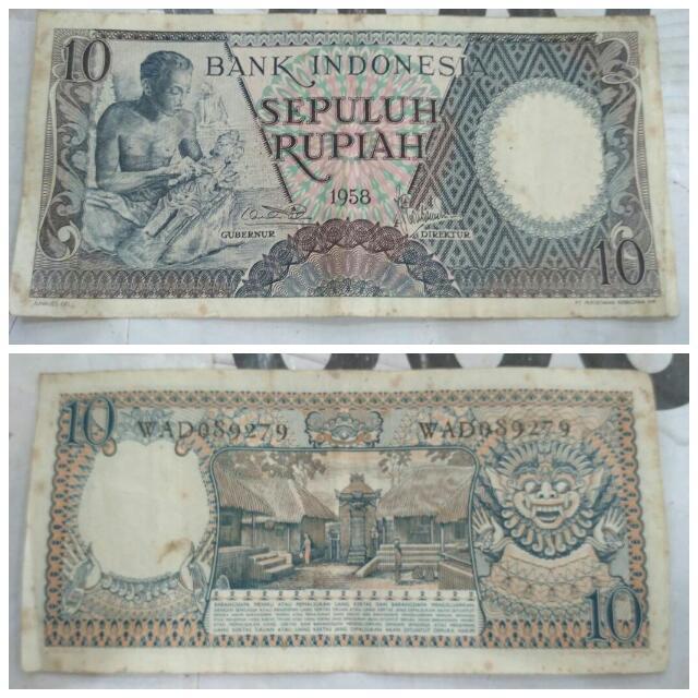 Uang 10  Rupiah (tahun 1958 ) Uang 5 Rupiah (1959) Uang 2.5 (1961) Uang 100 (1984)