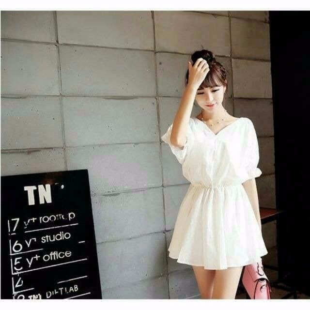(🆕全新轉賣)韓版V領縮腰洋裝