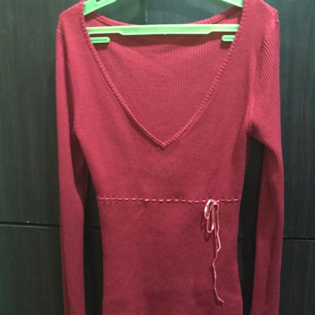 V Shape Red Sweater