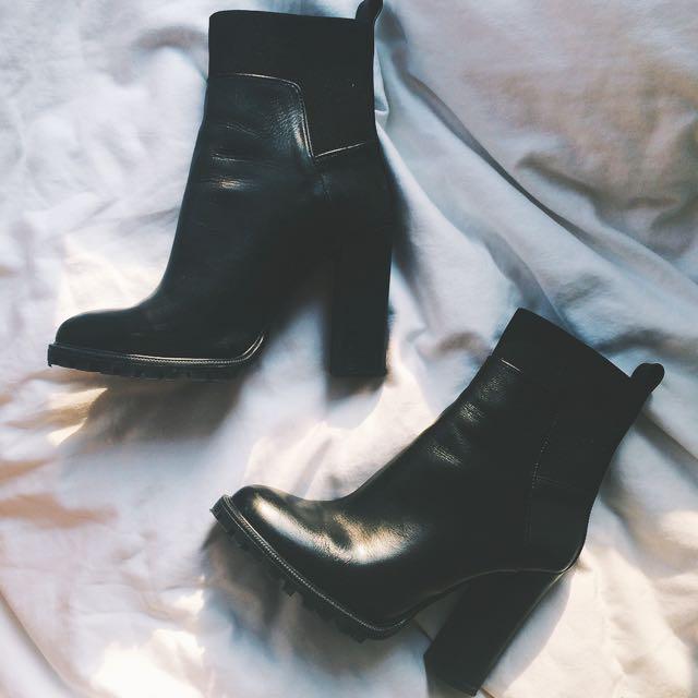 ZARA: Track Sole High Heel Bootie in Black