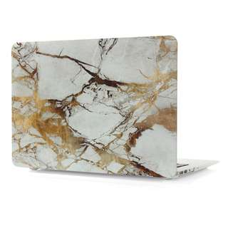 White Gold Marble Pattern Hard Case Cover for Macbook Air/Pro