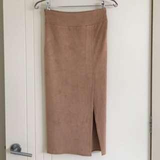 Sheik Camel Suede Stretchable Pencil Midi Skirt