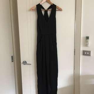 Portmans Black Satin Feel Cross Halter Dress