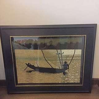 Custom Made Wooden Frame With Vietnamese Art Work