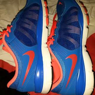 Blue And Coral Nike Running Shoes