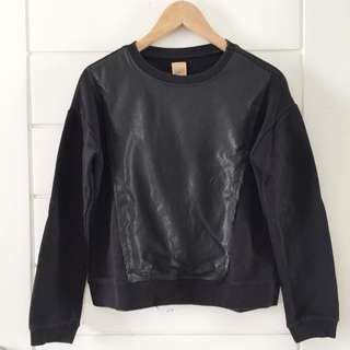 ZARA front leather sweater