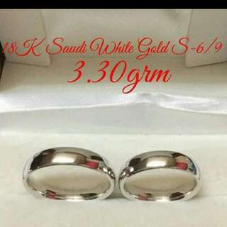 18k Saudi White Gold Wedding Ring