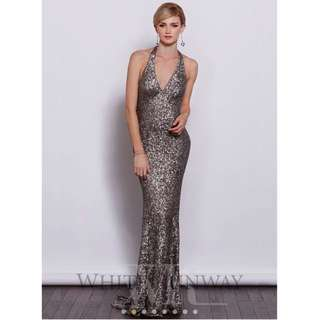 White Runway Nicky Sequin Dress Size 10 Formal Evening Gown Silver