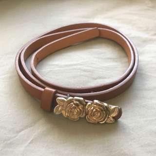 Golden Flower Brown Waist Belt