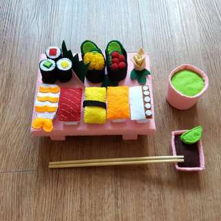 Pretend Play Food Felt Dine-in Sushi Set (Made-to-order)