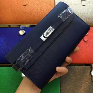Kelly wallet Epsom leather Navy blue *Instock *