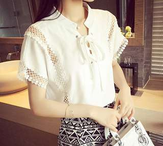 Short Sleeve Ribbon Tie White lace Top Blouse, one size