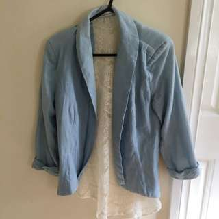 Blue Jacket With Lace Back
