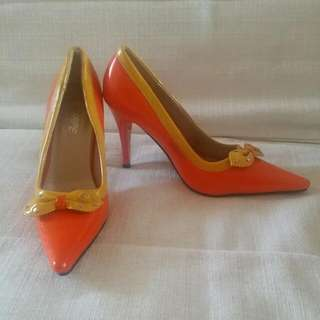Orange &Yellow Pointed Toe High Heels With Bow Size 36 - Brand New