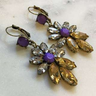 Statement Drop Earrings Purple & Cognac Crystals