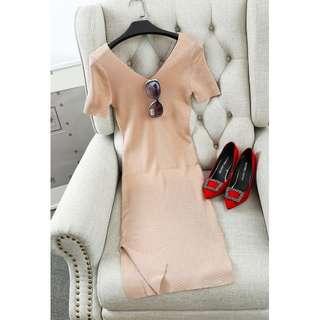 V Neck Knitted Side Slit Dress