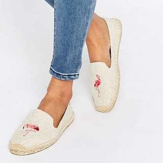美國Soludos火鶴flamingo米色手工草編鞋
