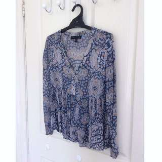 Forever New paisley print top size 6